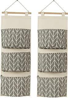 Amlrt 2 Packs Hanging Storage Bag 3 Pocket Linen Cotton Fabric Wall Door Closet Hanging Storage Bag