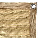 Toldo Vela de Sombra Protección Solar Rectangular, HDPE 95% Protección UV Toldo de Coche con Cuerdas y Bridas para Jardín, Patio, Balcón, Camping, Exteriores pérgola, 0,5 m 1 agujero, Arena (3x4m)