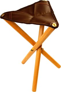 US Art Supply Portable Three Leg Wood Artist Folding Stool with Saddle Leather Seat
