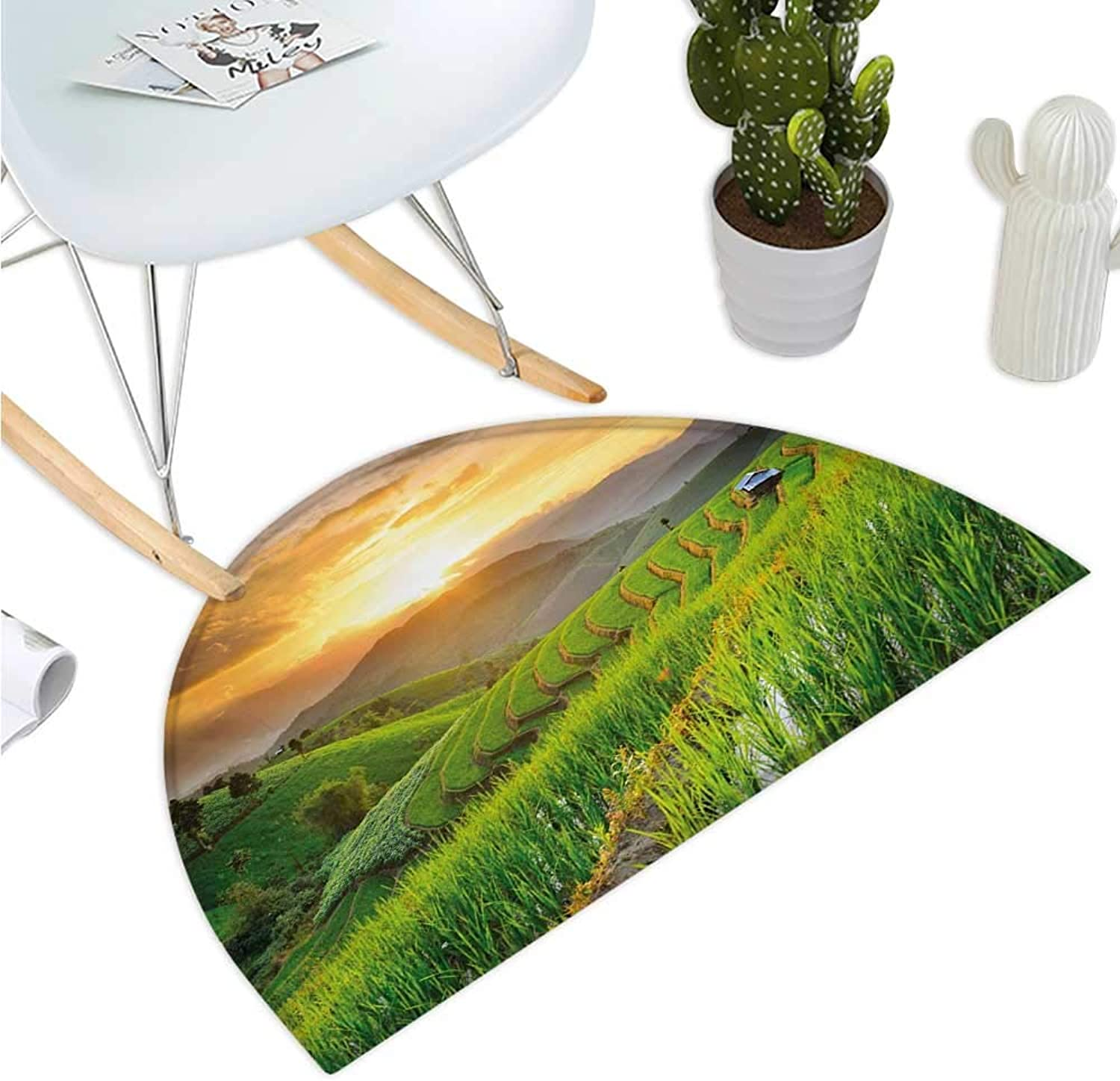 Country Semicircle Doormat Landscape of Rice Farm Terrace During Sunset in Thailand Image Photograph Print Halfmoon doormats H 39.3  xD 59  Multicolor