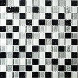 1qm Schwarze, weiß und silberne Glasmosaikfliesen mit Glitzereffekt. 30cm x 30 cm Matte (MT0029 m2)