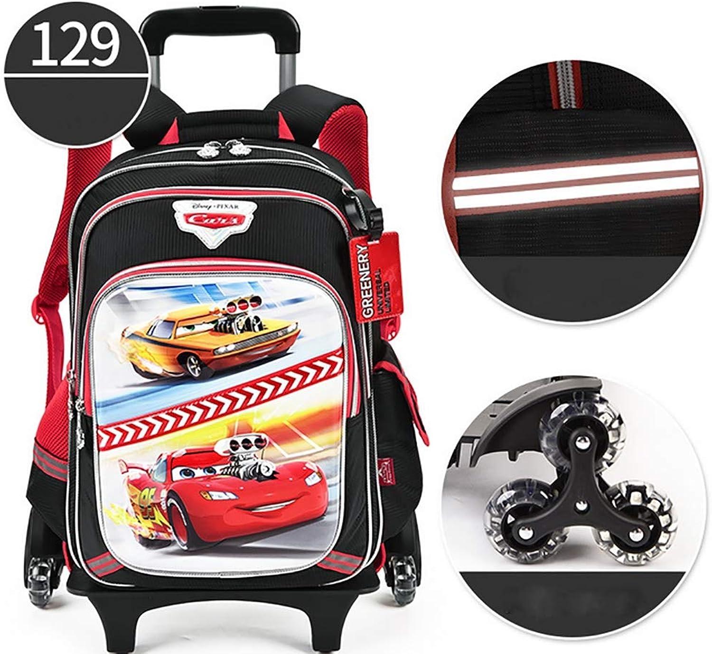 HCC& Disney Muster Entfernbar Schule Rollender Rucksack Schultasche Wasserdicht Reflektierend Trolley-Schultasche Treppen steigen,schwarz