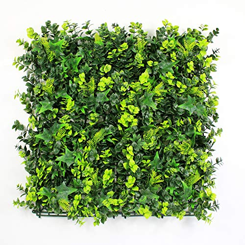 "ULAND Artificial Hedges Panels, Boxwood Greenery Ivy Privacy Fence Screening, Home Garden Outdoor Wall Decoration, Pack of 6pcs 20""x20"""
