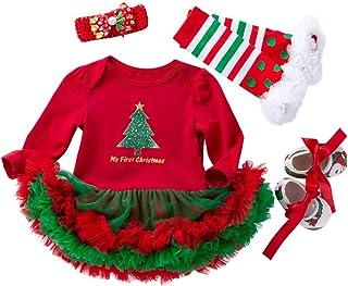 (set de 4)Vestido Ropa Traje de Navidad para Bebés Niñas Recién nacidos con Mangas Largas Christmas Venda de Pelo y Calcetines Zapatos para Fiesta Ceremonia - Navidad Rojo - Talla 1-24 meses