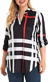 Women Plus Size Roll-Up 3/4 Sleeve V Neck Plaid Shirt Tunic Blouses Tops