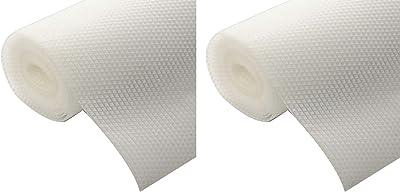 Kuber Industries 2 Pieces Multipurpose Diamond Textured Super Strong Anti-Slip Mat Liner,Size 45X150 cm (1.50 Meter Roll, White) - CTKTC045515