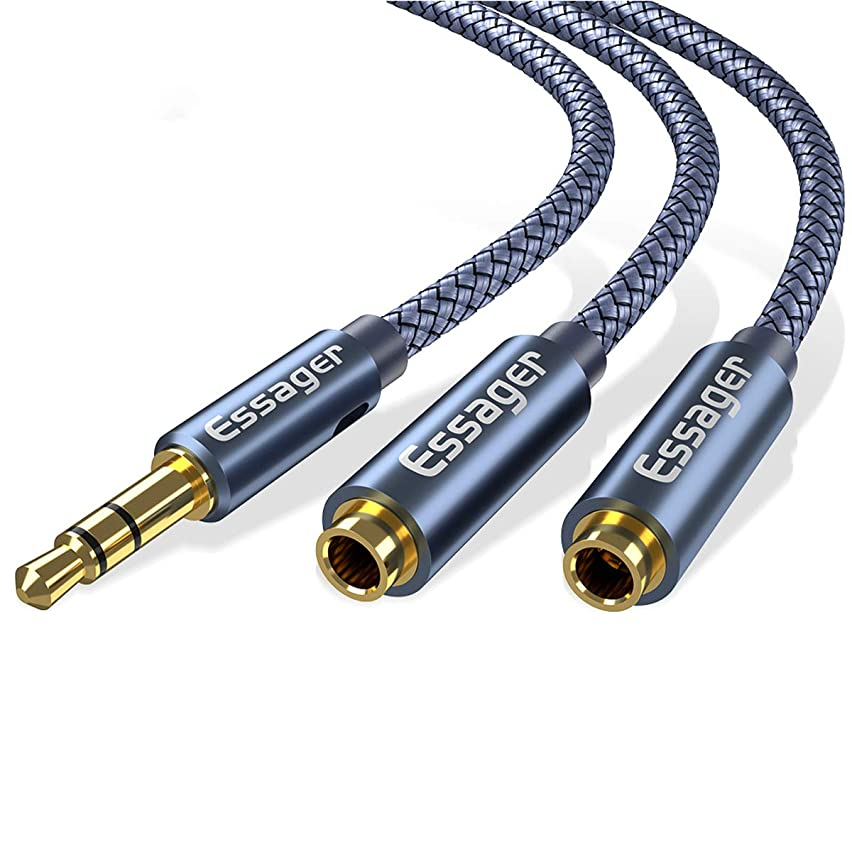 AUX Cable,3.5mm Male to Male Auxiliary Aux Stereo Professional HiFi Cable,Gold-Plated,Nylon Braided,1m Fastening Magic Tape (Male to 2 Female)