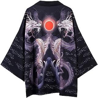 Homme robe de soie kimono robe noir blue dragon yukata hakma Qipao vintage
