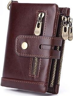 Bag for Men جلد طبيعي محافظ للرجال RFID حظر طبقة جلد البقر البقر جلد البقر مشبك سستة محفظة Durable Bag (Color : Brown, Siz...