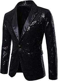 OMINA Sequin Blazer for Men, 2019 Fashion Casual Sequin Party Top Buttons Slim Fit Coat Performance Jacket