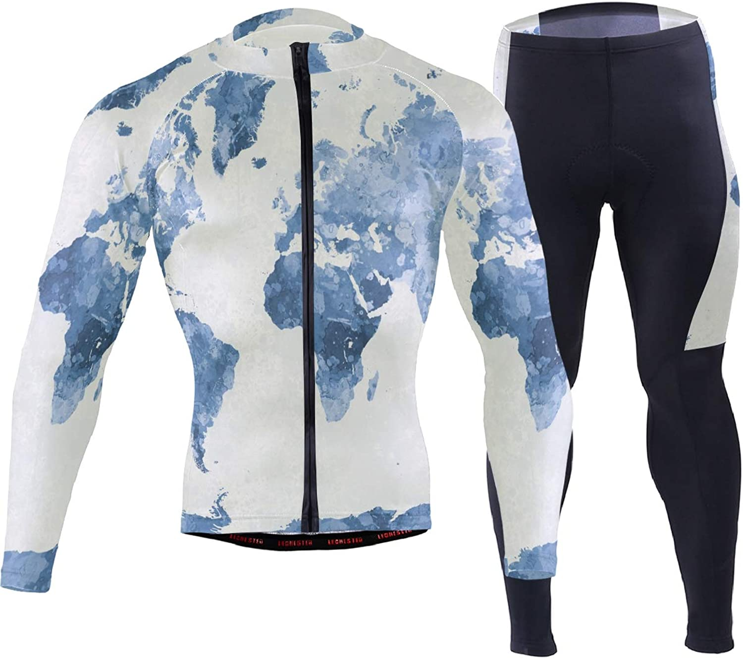 FAJRO WorldMapinWatercolorblueee Sportswear Suit Bike Outfit Set Breathable Quick Dry 3D Padded Pants