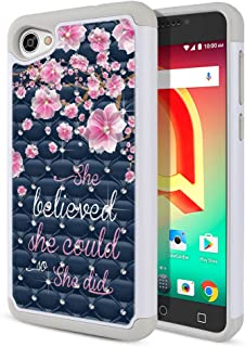 FINCIBO Case Compatible with Alcatel A50 Pulsemix Crave 5085 5.2 inch, Dual Layer Hybrid Protector Case Cover TPU Rhinestone Bling for Alcatel A50 - She Believed She Could So She Did Pink Flower Navy