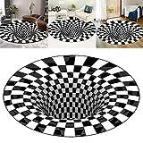 Alfombra, 3D Negro Blanco Alfombra Vortex, Alfombra de ilusión óptica Alfombra, Alfombra Visual Illusion, Alfombra redonda, para la decoración de la cocina del comedor