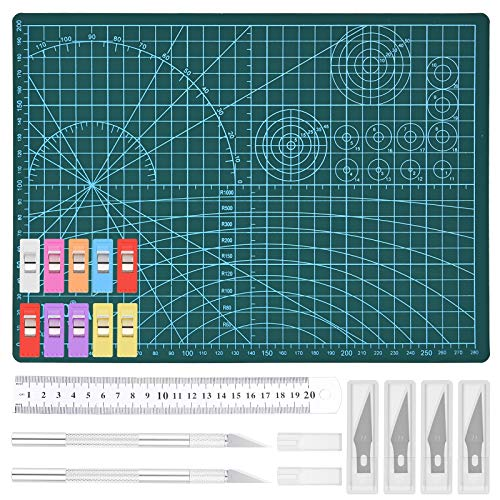 GOLDGE Craft Knives Set, Precision Carving Knife Include 2 Handles and 42 Stencil Knife Blades Cutting Mat Stainless Steel Ruler 10 Sewing Clip, Hobby Knife for Art Craft