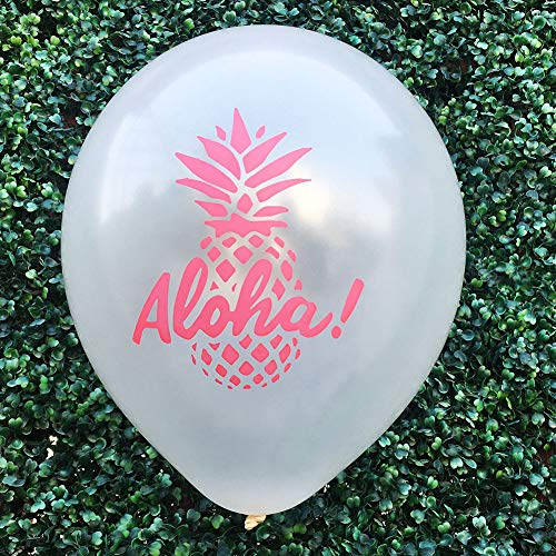 OOFAY 100 Stück 12 Zoll Aloha Latex Party Geburtstag Luftballons Pack, Hawaiian Stil Rosa Weißen Luftballons, Ananas Ballon Für Tropische Thema Geburtstagsfeier Baby Shower,Weiß