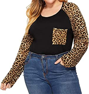 FRPE Womens Patchwork Slim Leopard Print Pullover Long Sleeve Plus Size Button Down Shirts