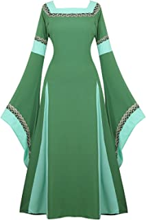 Womens Irish Medieval Dress Renaissance Costume Retro Gown Cosplay Costumes Fancy Long Dress