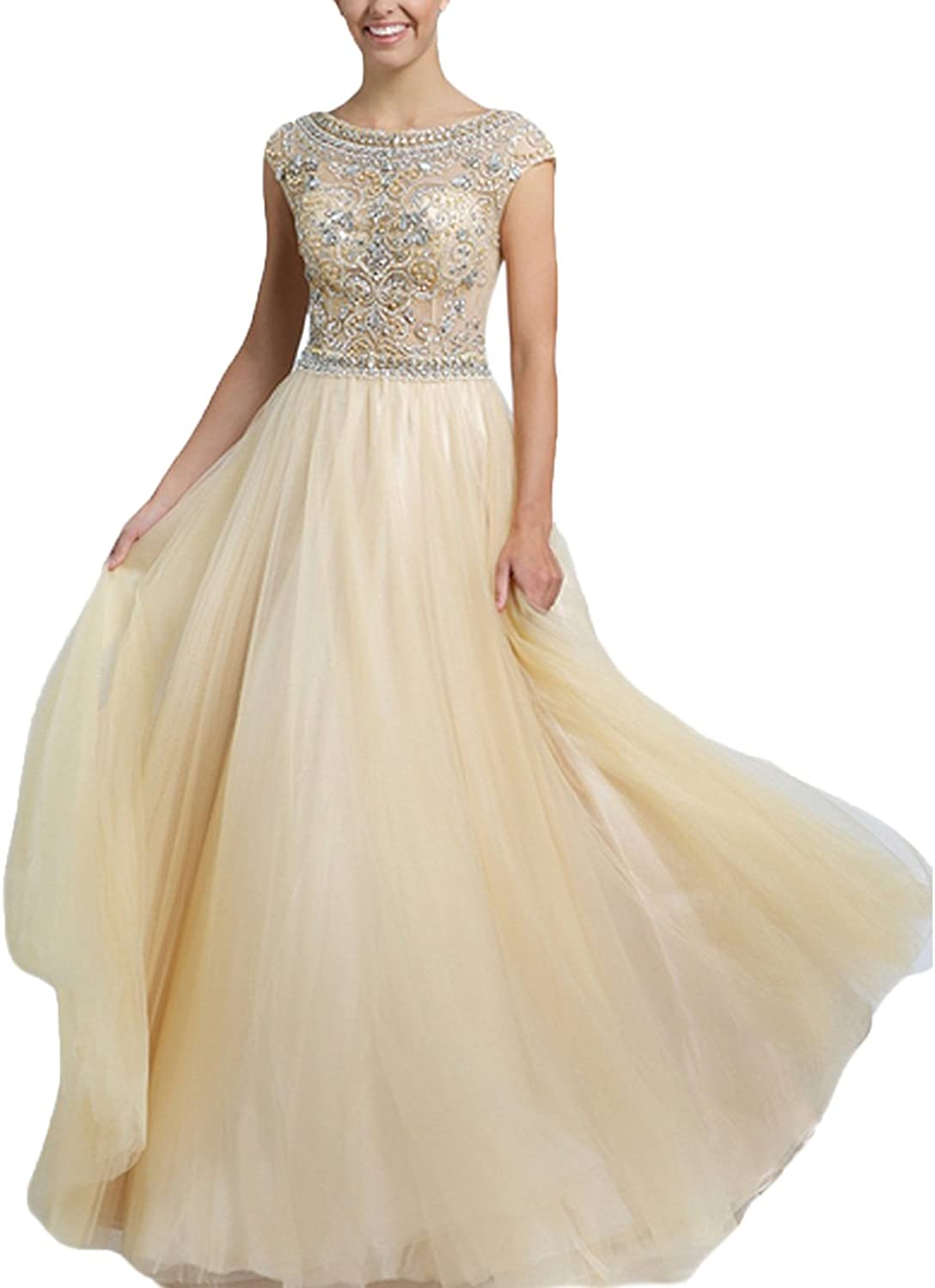 Datangep Women's Beading Bodice Deep VNeck Cap Sleeve Long Sweep Train Prom Dress