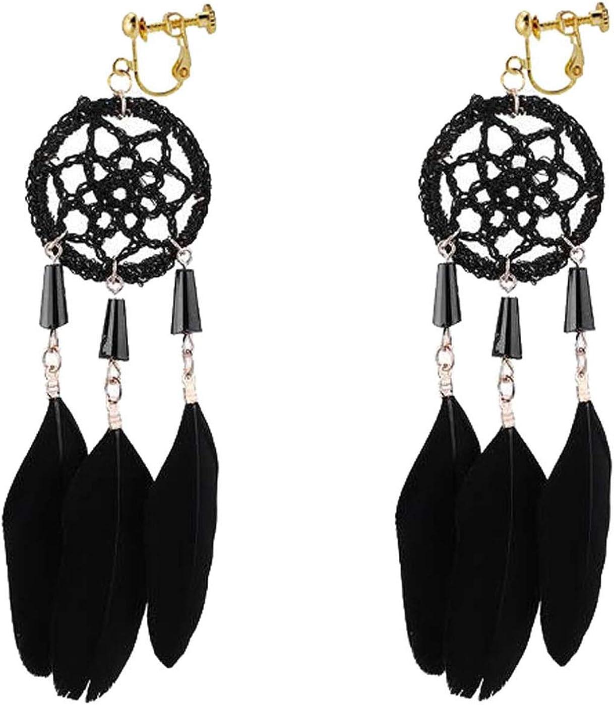 Retro Clip on Earrings Bohemian Earrings for Women Girls Dream Cather Dangle Drop Long Feather Tassel Vintage Statement