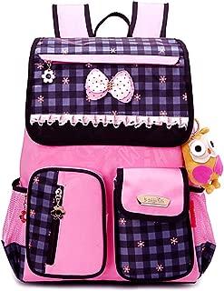 GLJ Children's School Bag Female Princess Bag Shoulder Shoulder Decompression Waterproof Light Anti-Wrinkle Backpack Backpack (Color : Black)
