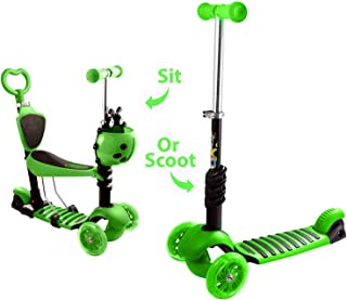 WeSkate Kids Kick Scooters with Removable Seat,  Adjustable Height Wide Deck Scooters Front Basket for Toddlers Girls Boys Green