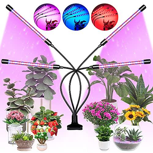 BUSATIA Pflanzenlampe LED 80W mit 80 LEDs, Wasserdicht Vollspektrum Pflanzenlicht für Zimmerpflanzen mit 4 Köpfen, 3/9/12H Timer, 10 Lichtstärken, 360°Einstellbar Schwanenhals [Energieklasse A+++]