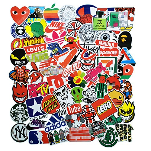 100 Pcs Fashion Brand Stickers for Laptop Stickers Motorcycle Bicycle Skateboard Luggage Decal (Logo)