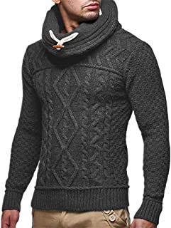 Fubotevic Mens Plain Regular Fit Knit Pile Collar Pullover Sweaters Jumper