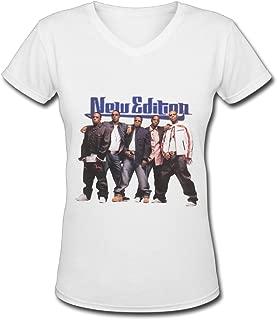 New Edition Poster Women's V Neck Tee Shirt White