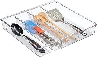 mDesign organiseur de tiroir extensible – le système d'organisation idéal pour la cuisine – bac de rangement de couverts, ...