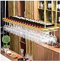 AERVEAL ゴールデンワイングラスホルダー、逆さまのバーワインラック、ゴブレットホルダー、バーハンギングカップホルダー、ワインラック(色:シルバー、サイズ:60 * 30Cm),ゴールド,100 * 30Cm