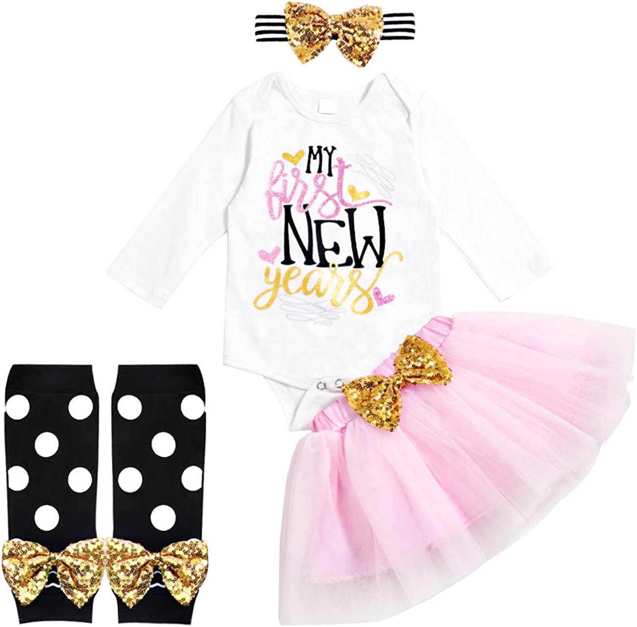 Newborn Baby Girl My First New Year Skirt Sets Long Sleeve Romper Tutu Skirt with Headband and Leggings 4Pcs Clothes Sets