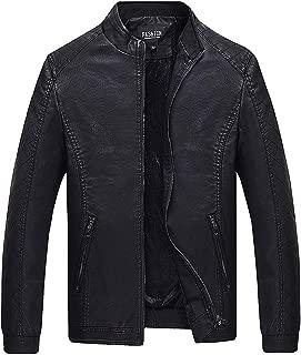 wuliLINL Mens Faux Leather Jacket with Faux Fur Lined,Casual Winter Warm Fleece Slim Fit Zipper Outwear Coat