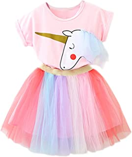 NNJXD Ragazzine Unicorn Dress Set,Stampato T-Shirt + Tutu Arcobaleno Gonna Fancy Costume Party Casual per 2-7 Anni