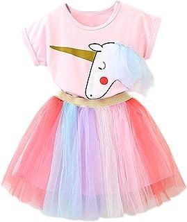 NNJXD Las niñas del Unicornio del Vestido Ocasional del Verano Impreso Top de la Camiseta + Falda del Arco Iris