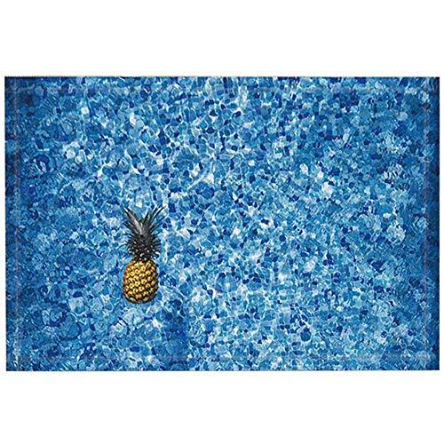 SESILY Tropische Frucht-Badeteppiche, Ananas in der Swimmingpool-Gitter-Fliesen-Dekor-Kunst, rutschfeste Fußmatten-Fußmatte