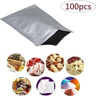 FineInno 食品保存用 アルミホイルパック ジップロックバッグ キッチン収納 長期食品 ストレージバッグ 包装袋 食品用 貯蔵用 パッケージポーチ 100セット (A)