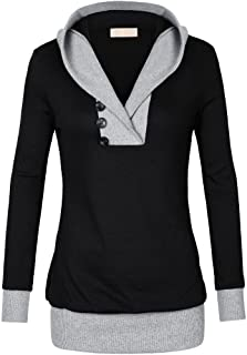 Hashoob Womens Long Sleeve Color Block Lightweight Pullover Sweatshirt Hoodies