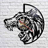 UIOLK Cabeza de Lobo Silueta Reloj de Pared dominante Feroz Animal Salvaje Disco de Vinilo Reloj de Pared Reloj de Pared Retro decoración de Arte de Pared
