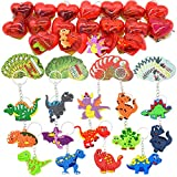 28 Packs Kids Valentines Party Favors Set includes 28 Dinosaur Keychains Filled Hearts and Valentine's Day Cards for Classroom Exchange, Dinosaur Party Favors for Kids Valentine Gift & Game Prizes