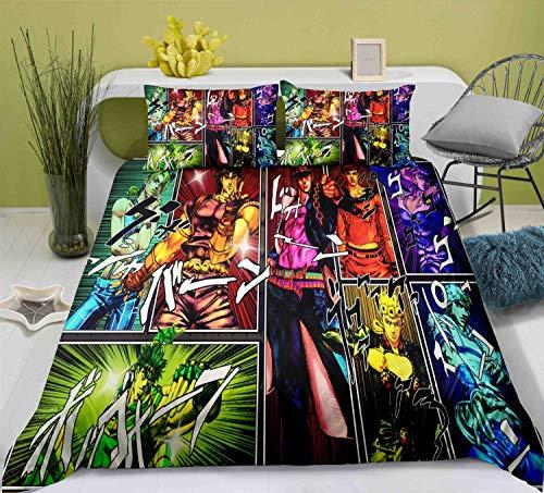 YUBAIBA Jojo's Bizarre Adventure, Japanese Anime Quilt Cover And Pillowcase, 3D Printing Bedding Set, Cartoon Duvet Cover Set, Pillowcase Large King Size (Size : EU Twin Single (140x200cm))