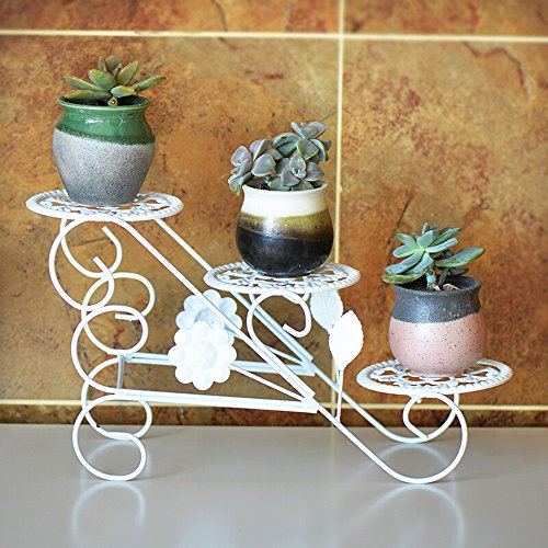 QFF Style européen de style au sol, étagère à fleurs à plusieurs étages / salon chaise de bureau / panier fleur entier petit ( Couleur : Blanc )