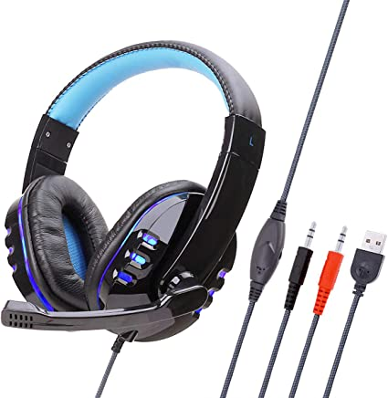 Mettime Cuffie Gaming,Cuffie, Over Ear Cuffie con Microfono e Controllo del Volume e Stereo per PC/Laptop,Blu - Trova i prezzi più bassi