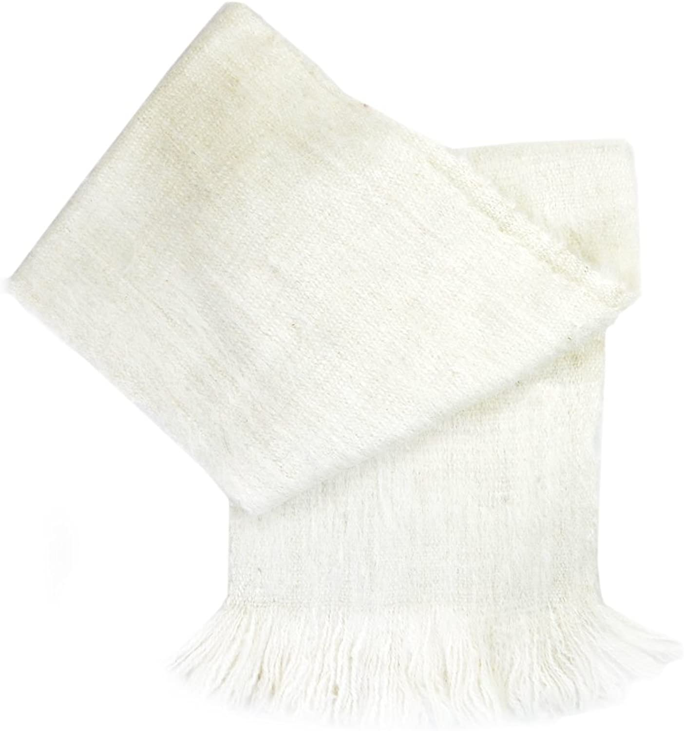 Gamboa  Alpaca Scarf  Soft and Incredibly Warm  First Quality  Snow White with Elegant Fringes