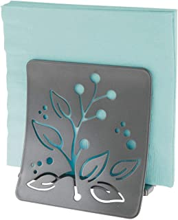 mDesign Decorative Metal Paper Napkin Holder for Kitchen Countertop, Dinner Table, Picnic - Decorative Floral Design - Indoor & Outdoor Use, Storage and Organization for Multiple Sizes - Graphite Gray