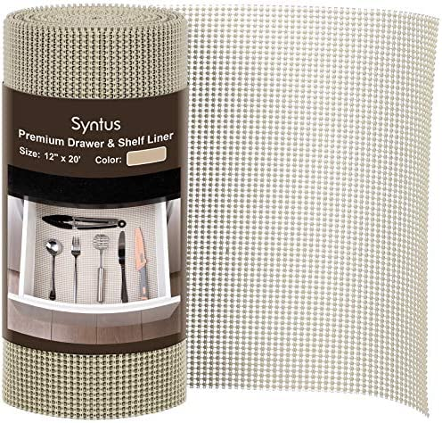 Syntus Drawer and Shelf Liner 12 Inch x 20 Feet Non Adhesive Durable Grip Liner for Drawers product image