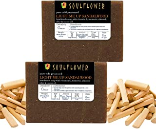 Soulflower Light me Up Sandalwood Handmade Soap with Coconut Oil, (5.3Oz x 2) Natural, Organic, Vegan & Coldprocessed, SLS Free - Brightening & Exfoliating - Indian Formulation