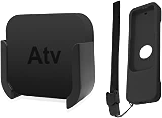 TV Mount Compatible with Apple TV 4th and 4K 5th Generation, SourceTon Wall Mount Compatible with Apple TV 4th / 4K 5th Gen, Bonus Protective Case Compatible with Apple TV 4K / 4th Gen Siri Remote