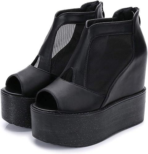 SFSYDDY-Les Chaussures De Femme Et De Gaze Bouche De Poisson des Sandales des Talus Talon Haut Et Bas Gateau Chaussures épaisses.