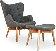 Kardiel Grant Featherston Contour Style Wing Chair & Ottoman, Cadet Grey Cashmere Wool, Ash Legs